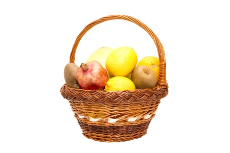 Fruits pomegranate , lemon, orange, kiwi and pomelo in the basket Stock Photo