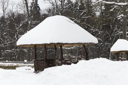 Neige-pergola couverte dans la for�t d'hiver magnifique