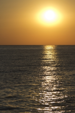 The enchanting golden sunset on the beach