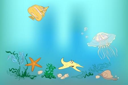 The underwater world  fish, shell, sea horses, starfish, snail, jellyfish, octopus  Illustration