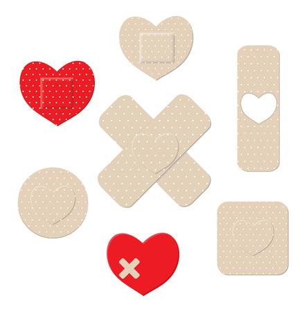 Heart shaped bandages Illustration