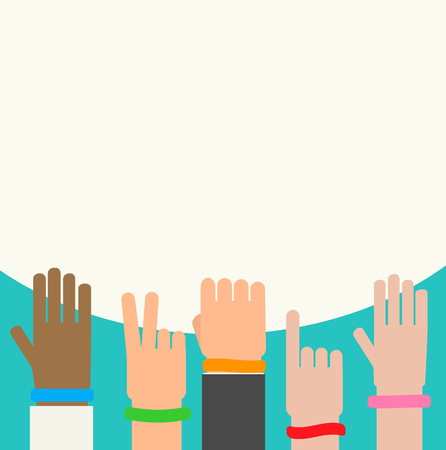 Wristbands on human hands background