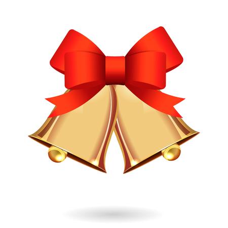 Gold ringing Christmas bells Stock Vector - 84544359