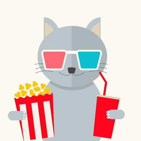 Cinema concept. Cat watching movie Illustration