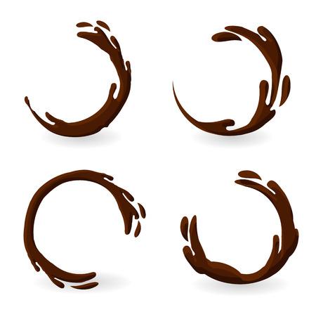 Brownish hot coffee or chocolate splashes set