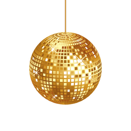 Sparkling gold disco ball isolated
