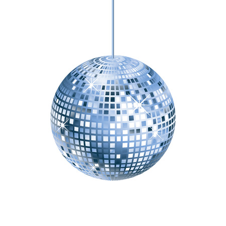 Sparkling silver and blue disco ball isolated Illustration