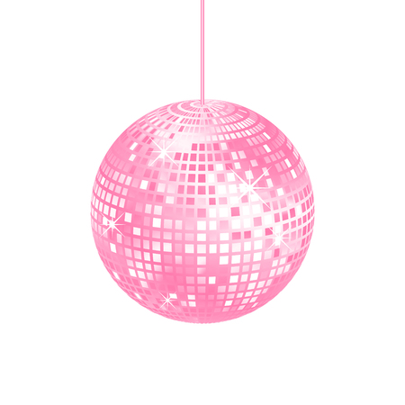fluorescence: Sparkling pink disco ball isolated Illustration