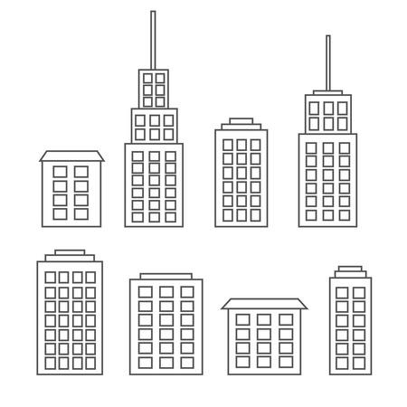 Outline scyscrapers, buildings, houses Illustration