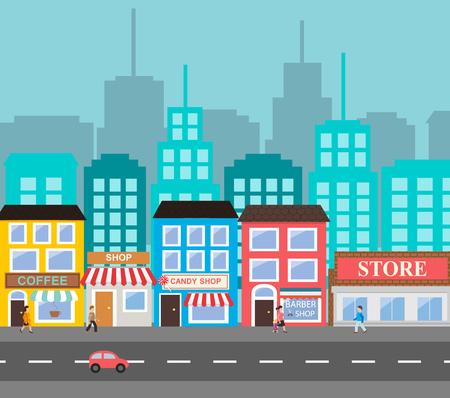 Small town urban landscape 矢量图像