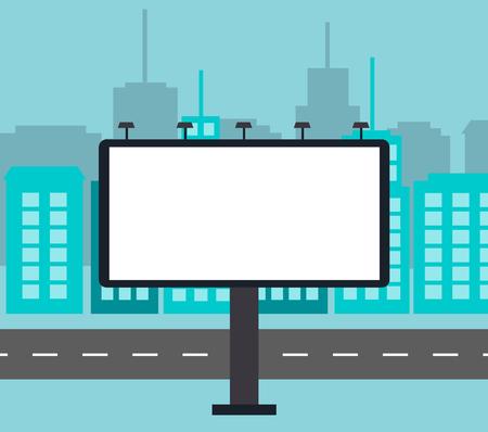 Big blank billboard in the city near road