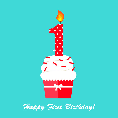 Happy First Birthday Geburtstagskarte Standard-Bild - 84482689