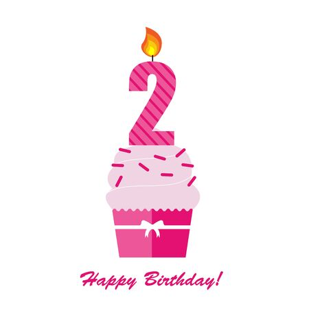 Happy Second Birthday Anniversary card Illustration