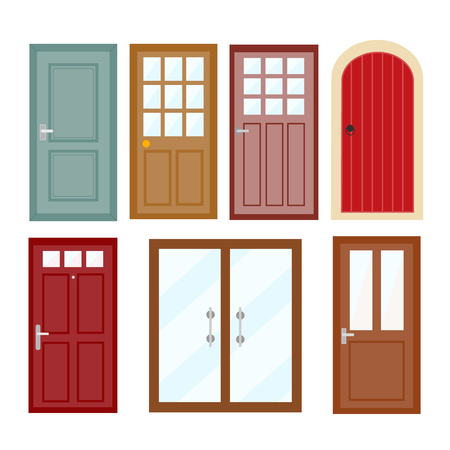 Front doors to houses set Illustration