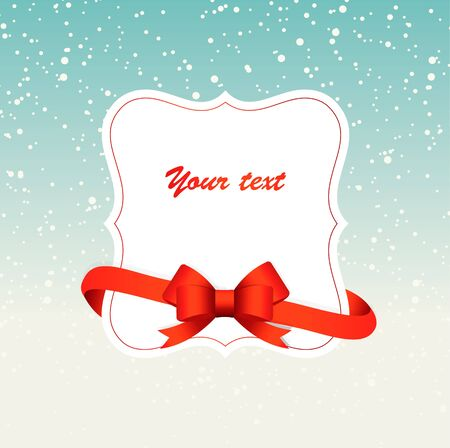 Winter background with a frame and red ribbon