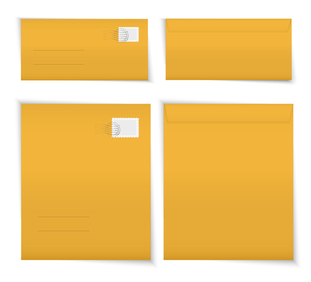 Yellow blank envelopes set Ilustrace