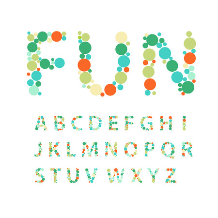 Alphabet letters  consisting of colorful circles