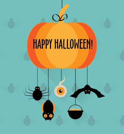 Halloween pumpkin card or invitation Illustration