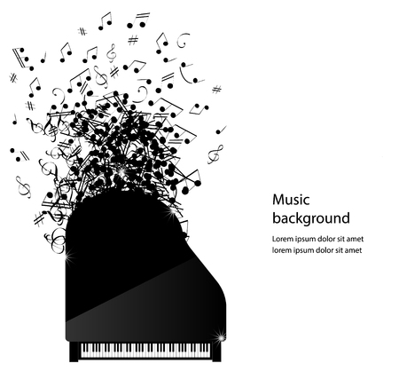 Abstract music background with piano and notes