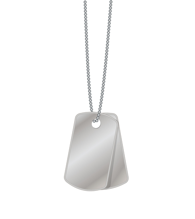 Two blank metal tags hanging on chain