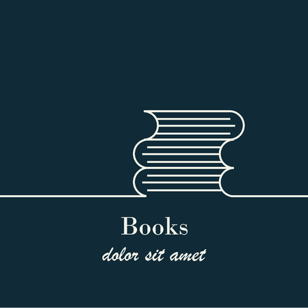 Abstract background with outline books  sign