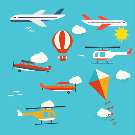 Planes, helicopters,  hot air balloon and kite Illustration