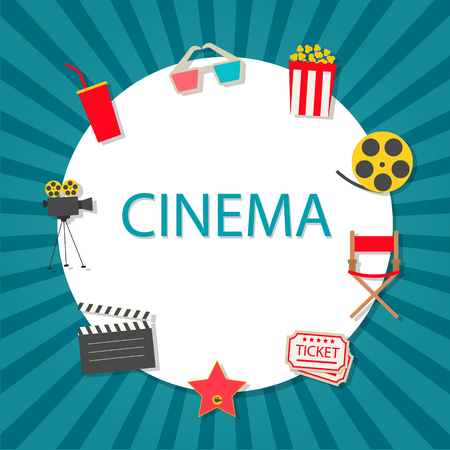Cinema background with cinema icons set