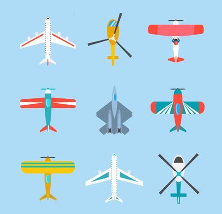 Color airplanes and helicopters icons set Illustration
