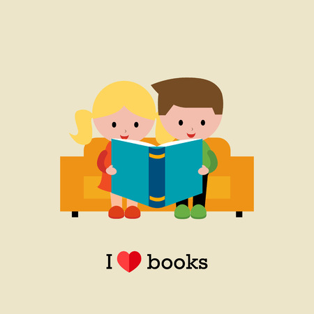 Kids sitting on sofa and  reading a book