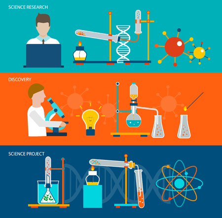 Science research and chemical laboratory banners