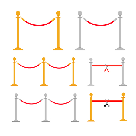 Stand rope barriers set i Ilustrace