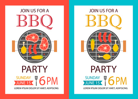 Barbecue party invitation. BBQ template