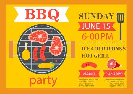 Barbecue party invitation. BBQ template