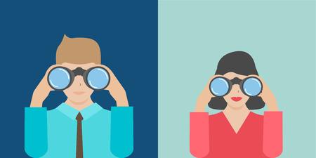 実業家や双眼鏡を保持している実業家  イラスト・ベクター素材