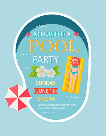 Pool party invitation  with top view of pool Illustration
