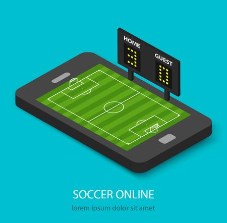 Isometric soccer online concept Illustration