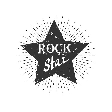 Monochrome hipster vintage label, rock star Ilustrace