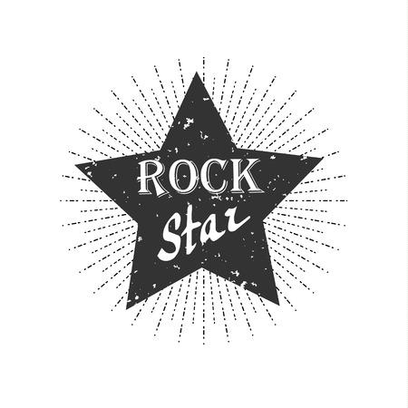 Monochrome hipster vintage label, rock star Illustration