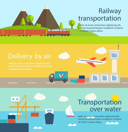 Transportation and delivery web banners set. Illustration