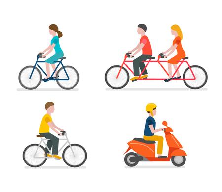Cyclists riding bike set Scooter rider Illustration