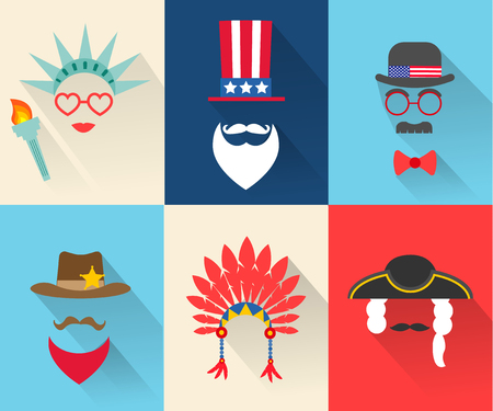 Fourth July Independence Day characters Ilustrace