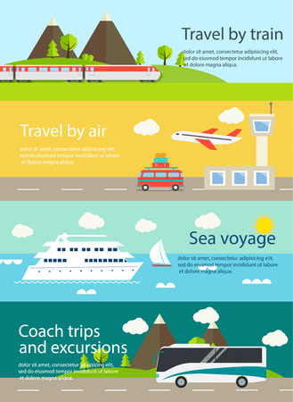 Travel web banners set. Illustration