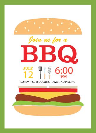 BBQ party invitation card with hamburger