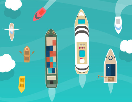 Water carriage and maritime transport icons set, top view