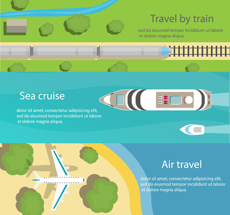 Web banners with top view of train, ship, plane, flat  icons. Travel and delivery concepts,  illustration Illustration