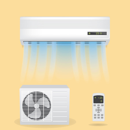 Split system air conditioning  illustration.