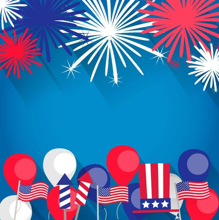 Independence Day background with fireworks and flags, balloons