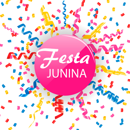 Festa Junina sign with confetti and streamers,  illustration Illustration