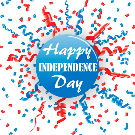 4th of July, USA Independence Day sign with confetti and streamers,  illustration Ilustrace