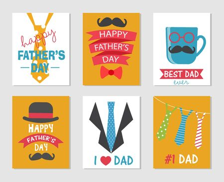 Happy Fathers Day greeting cards set. There are tie, moustache,